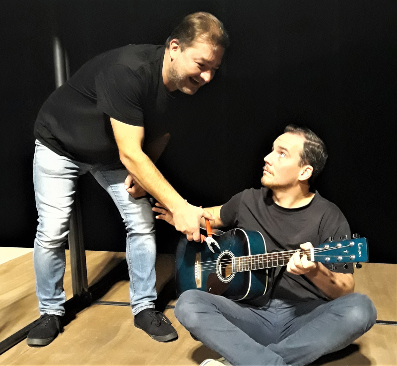 Petr Čagánek s Tomášem Davidem, představitelem Ježíše Iškariotského