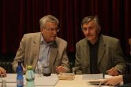 Překladatel Antonín Přidal a režisér Igor Stránský na první čtené zkoušce inscenace Dům Bernardy Alby, duben 2011 - foto Jan Karásek