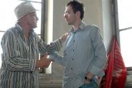 spolu s Janem Přeučilem při natáčení filmu Klíček v uherskohradišťské věznici, 2007