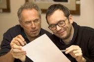 na zahajovací zkoušce komedie Bez roucha v prosinci 2015, vpravo J. Kubáník - foto Marek Malůšek