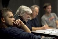 na zahajovací zkoušce dramatu Nepřítel lidu v únoru 2016, vpravo V. Doskočil, P. Majkus a Š. Goiš - foto Marek Malůšek