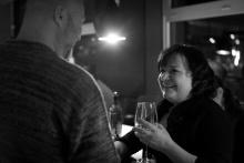 Čarodějnice v kuchyni, po premiéře - překladatel Martin Fahrner a herečka Monika Horká - foto Marek Malůšek