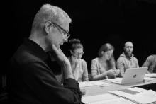 režisér Šimon Caban, kostýmní výtvarnice Jitka Fleislebr, dramaturgyně Markéta Špetíková a herec František Maňák